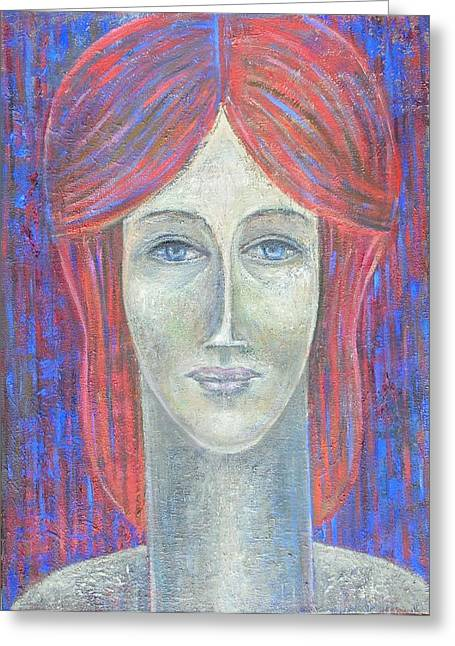Woman Face Greeting Cards - Redhead, 2012, Oil On Canvas Greeting Card by Ruth Addinall