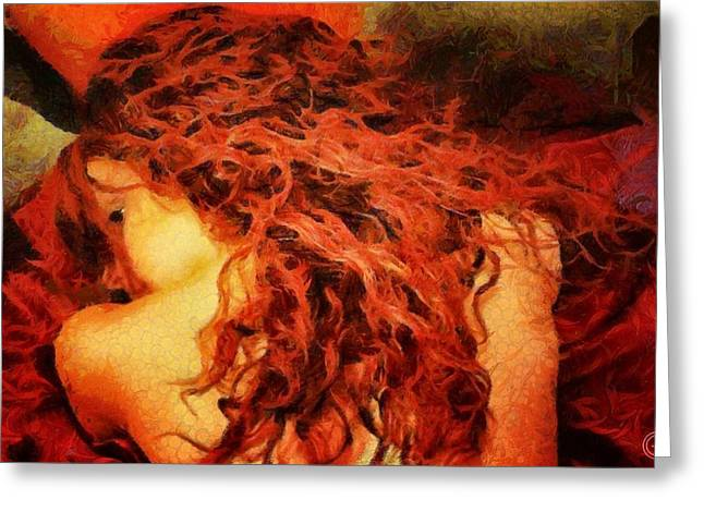 Woman Head Greeting Cards - Redhead Greeting Card by Gun Legler
