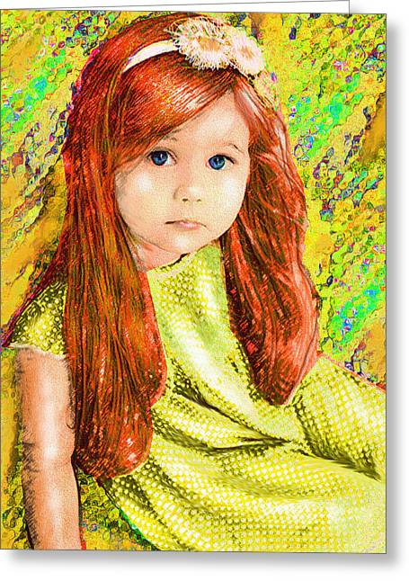 Toddler Girl Greeting Cards - Redhead Greeting Card by Jane Schnetlage