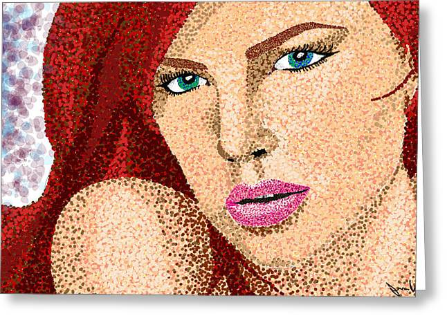 Charlize Theron Greeting Cards - Redhead Greeting Card by Jessica Williams