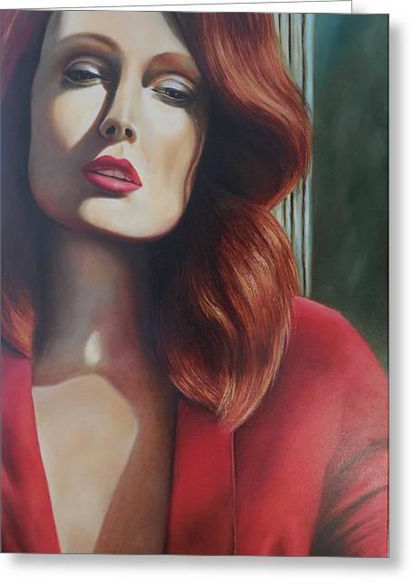 Woman At The Window Greeting Cards - Redhead lady Greeting Card by Tatiana Siedlova