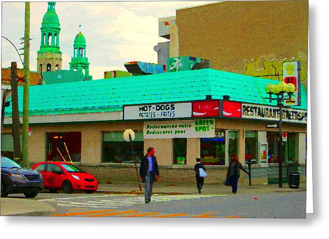 Restaurant Greenspot Greeting Cards - Rediscover Your Greenspot Notre Dame St Henri Dogs Et Frites Urban Food City Scenes Carole Spandau  Greeting Card by Carole Spandau