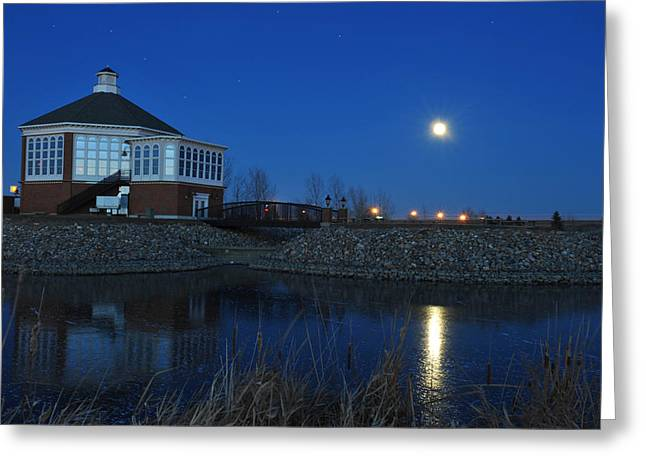 Redlin Art Center in full moon Greeting Card by Dung Ma