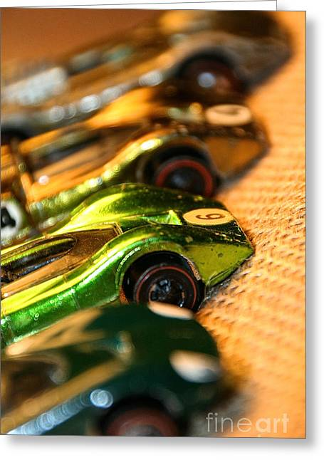 Gold Lime Green Greeting Cards - Redline Racers Greeting Card by Susan Herber