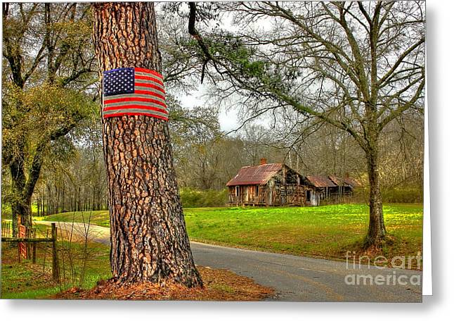 Old Country Roads Greeting Cards - American Flag on the Redneck Flag Pole Greeting Card by Reid Callaway