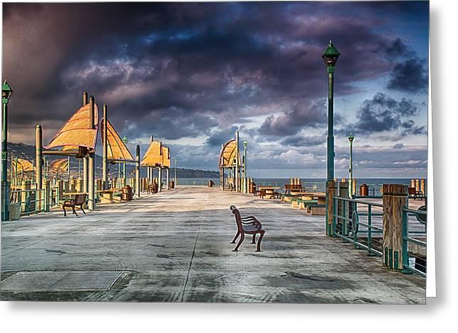 Redondo Pier Greeting Card by Joseph Hollingsworth