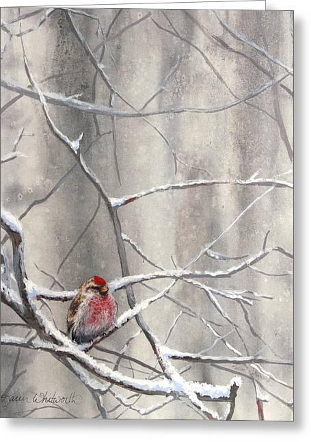 Redpoll Eyeing The Feeder - 1 Greeting Card by Karen Whitworth
