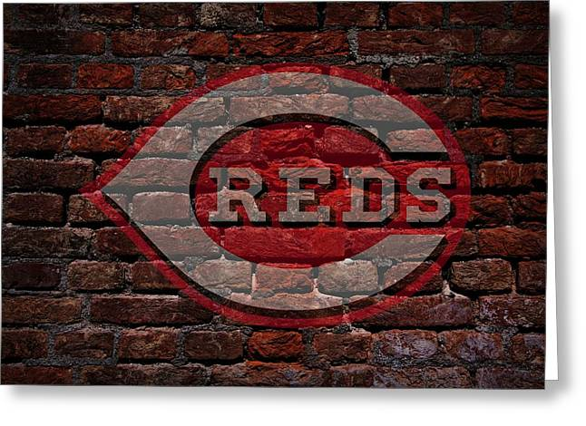 Baseball Art Digital Art Greeting Cards - Reds Baseball Graffiti on Brick  Greeting Card by Movie Poster Prints