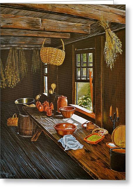 Stoneware Paintings Greeting Cards - Redware Greeting Card by Dave Hasler