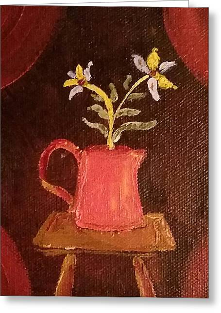 Still Life With Pitcher Paintings Greeting Cards - Redware Pitcher Greeting Card by Alida Haslett