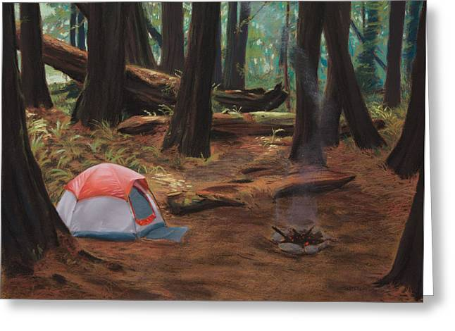 Fire Wood Greeting Cards - Redwood Campsite Greeting Card by Christopher Reid