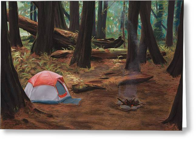 Redwood Campsite Greeting Card by Christopher Reid
