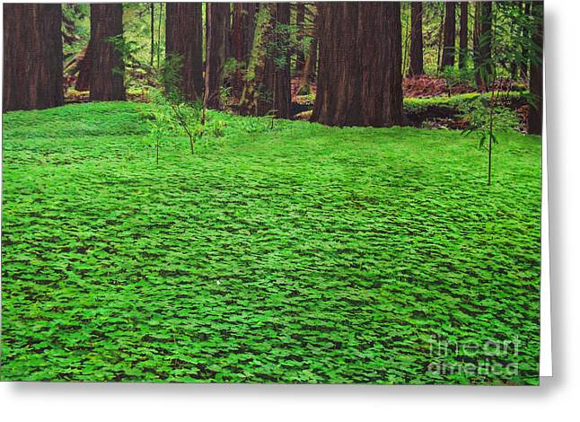 Forest Floor Mixed Media Greeting Cards - Redwood Carpet Greeting Card by L J Oakes