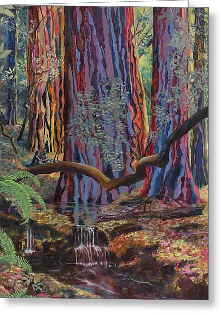 Redwood Picnic Greeting Card by Cheryl Myrbo