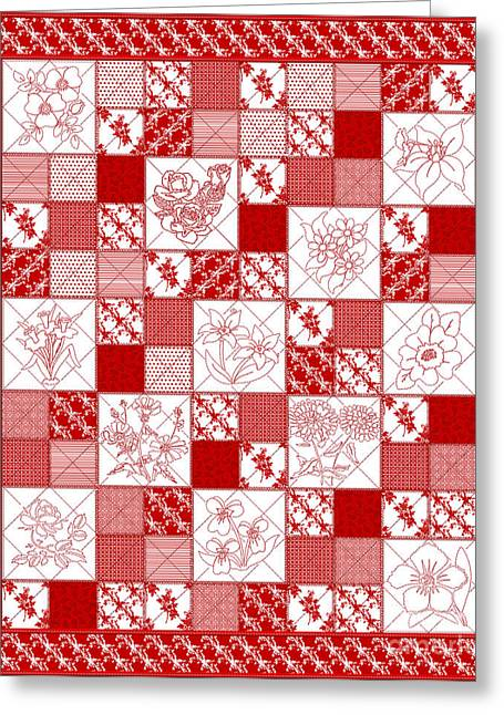 Red And White Quilt Greeting Cards - Redwork Floral Quilt Greeting Card by Margaret Newcomb