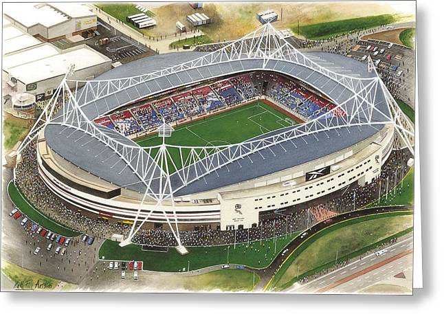 Reebok Greeting Cards - Reebok Stadium - Bolton Wanderers Greeting Card by Kevin Fletcher