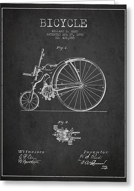 Vintage Bicycle Greeting Cards - Reed Bicycle Patent Drawing From 1890 - Dark Greeting Card by Aged Pixel