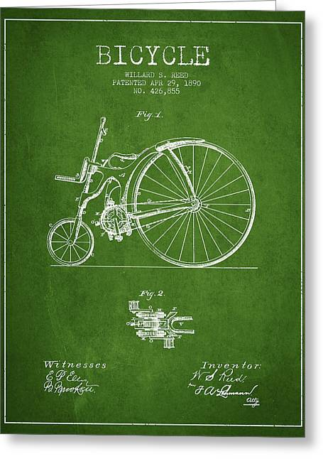 Vintage Bicycle Greeting Cards - Reed Bicycle Patent Drawing From 1890 - Green Greeting Card by Aged Pixel