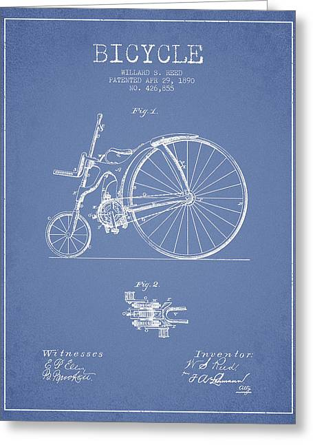 Vintage Bicycle Greeting Cards - Reed Bicycle Patent Drawing From 1890 - Light Blue Greeting Card by Aged Pixel