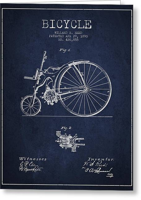 Vintage Bicycle Greeting Cards - Reed Bicycle Patent Drawing From 1890 - Navy Blue Greeting Card by Aged Pixel