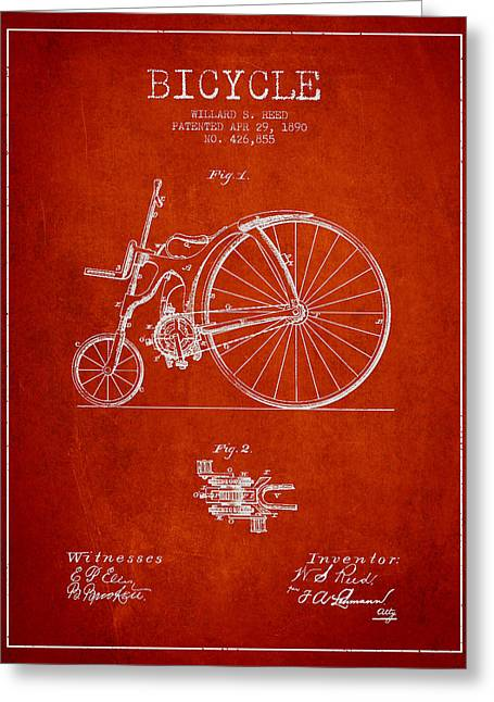 Vintage Bicycle Greeting Cards - Reed Bicycle Patent Drawing From 1890 - Red Greeting Card by Aged Pixel