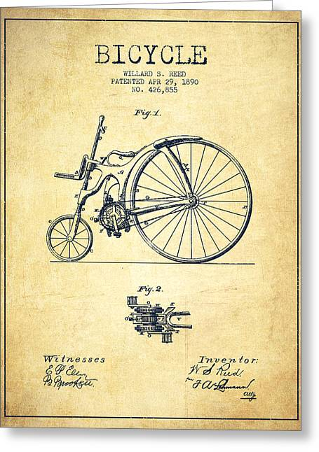Vintage Bicycle Greeting Cards - Reed Bicycle Patent Drawing From 1890 - Vintage Greeting Card by Aged Pixel