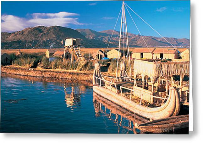 Water Vessels Greeting Cards - Reed Boats At The Lakeside, Lake Greeting Card by Panoramic Images