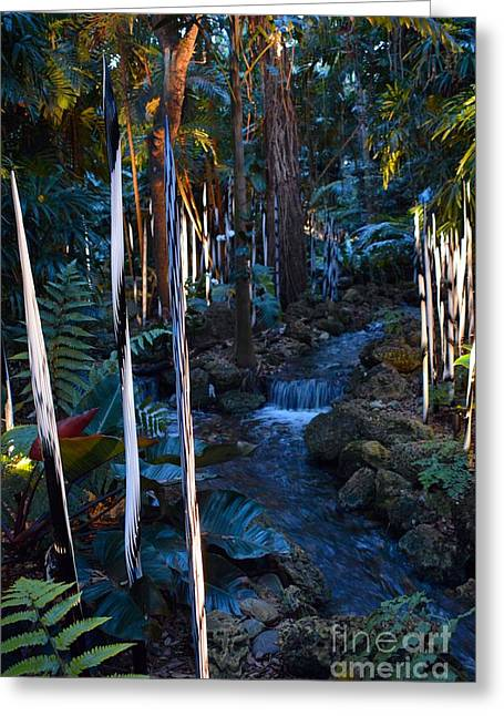 Reeds And Waterfall Greeting Card by Edna Weber