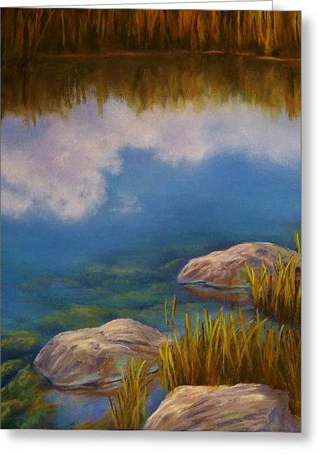 Moss Pastels Greeting Cards - Reeds Rocks And Reflections  Greeting Card by Candice Ferguson