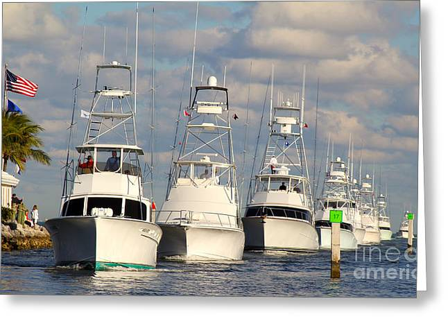 Sportfishing Boats Greeting Cards - Reef Cup Greeting Card by Carey Chen