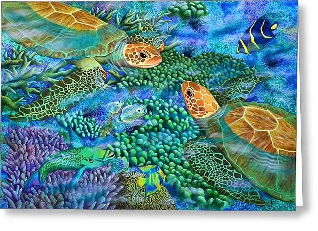 Sea Animals Greeting Cards - Reef Encounter Greeting Card by Carolyn Steele