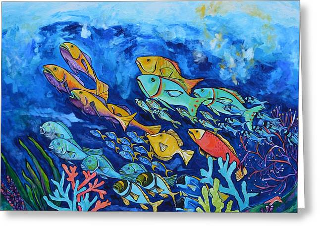 Reef Fish Paintings Greeting Cards - Reef Fish Greeting Card by Patti Schermerhorn