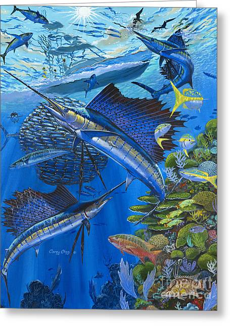 Pez Vela Paintings Greeting Cards - Reef Frenzy OFF00141 Greeting Card by Carey Chen