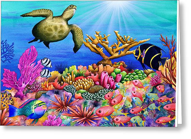Sea Animals Greeting Cards - Reef Revelers Greeting Card by Carolyn Steele