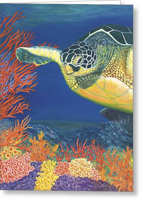 Blue And Purple Sea Greeting Cards - Reef Rider Greeting Card by Karen Zuk Rosenblatt