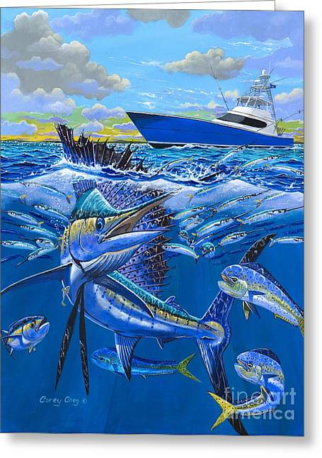 Sportfishing Boats Greeting Cards - Reef sail OFF00151 Greeting Card by Carey Chen