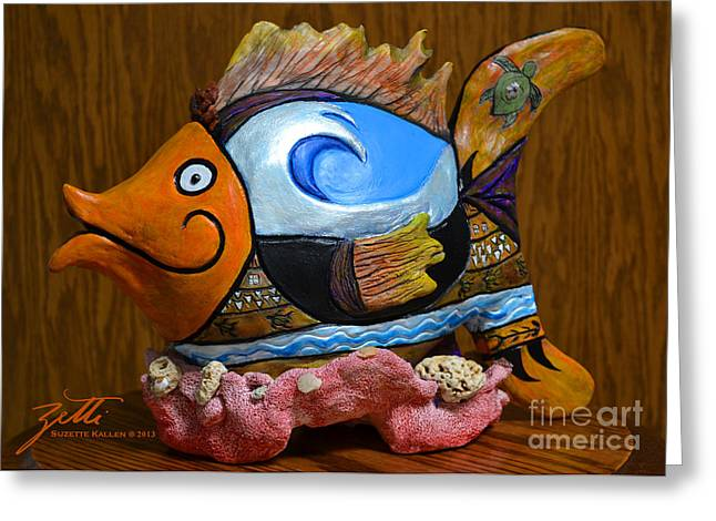 Cartoon Sculptures Greeting Cards - Reef Surfer Greeting Card by Suzette Kallen