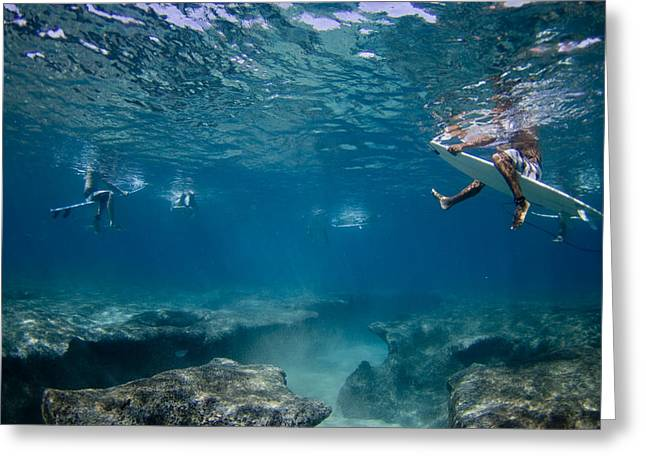 Under-water Greeting Cards - Reef Surfers Greeting Card by Sean Davey