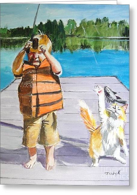 Judy Kay Art Greeting Cards - ReelEm In Greeting Card by Judy Kay
