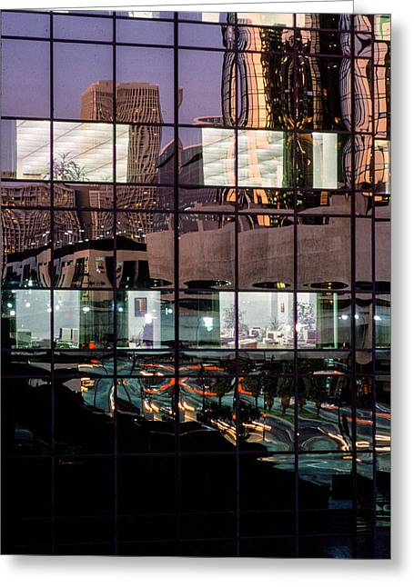 Down Town Los Angeles Greeting Cards - Refelctions Greeting Card by David Tuthill