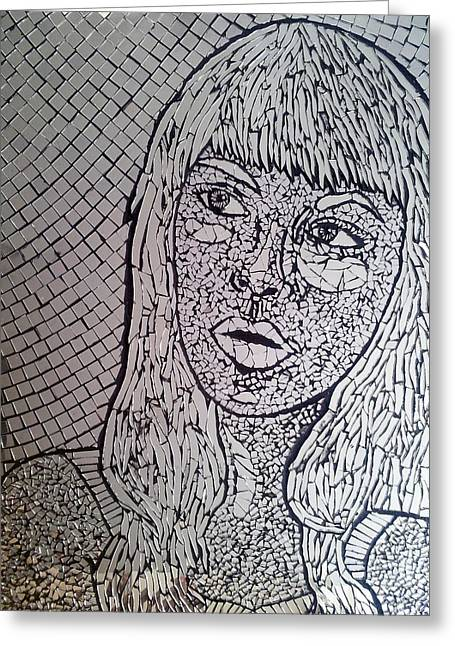 Mosaic Portraits Mixed Media Greeting Cards - Reflect Greeting Card by Monique Sarfity