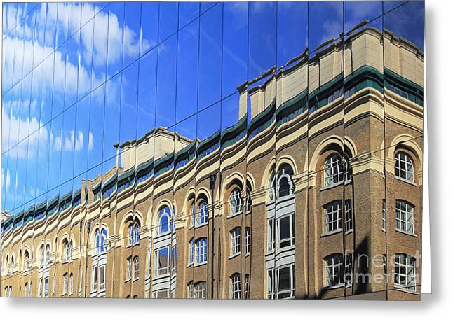 Glass Reflecting Greeting Cards - Reflected Building London Greeting Card by Julia Gavin