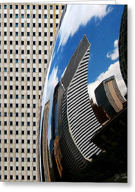 The Bean Greeting Cards - Reflected City Greeting Card by Joe Bonita