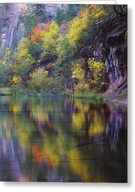 West Fork Greeting Cards - Reflected Fall Greeting Card by Peter Coskun