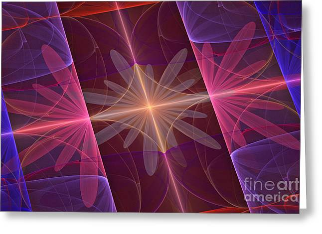 Fractal Flower Greeting Cards - Reflected Flowers Greeting Card by John Edwards