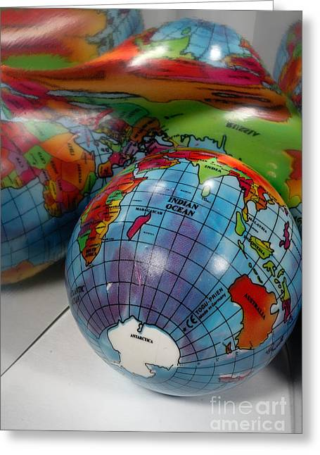Distortion Greeting Cards - Reflected Globe Greeting Card by Amy Cicconi