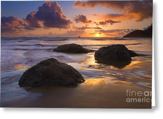 Sunset Seascape Greeting Cards - Reflected in the Sand Greeting Card by Mike  Dawson
