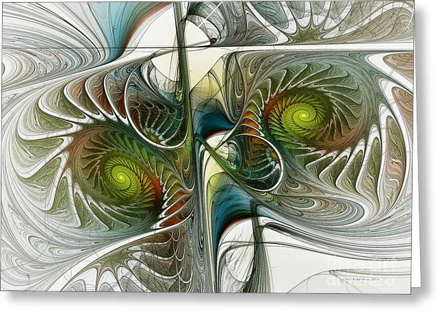 Lucid Greeting Cards - Reflected Spirals Fractal Art Greeting Card by Karin Kuhlmann