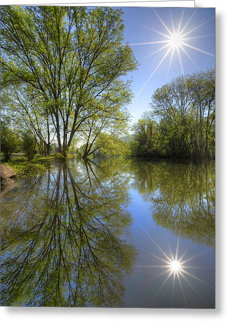 Oak Creek Greeting Cards - Reflected Star Greeting Card by Debra and Dave Vanderlaan