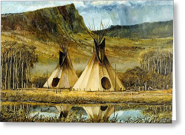 Native American Dwellings Greeting Cards - Reflected Tipis Greeting Card by Steve Spencer